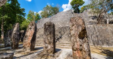 maya stelae at the Calakmul archeological site in Mexico