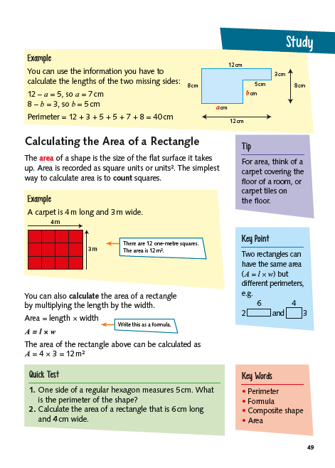 KS2 Maths Study Book Area and Perimeter page 2