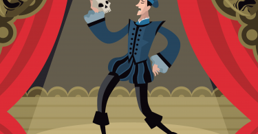 cartoon Hamlet on stage holding a skull